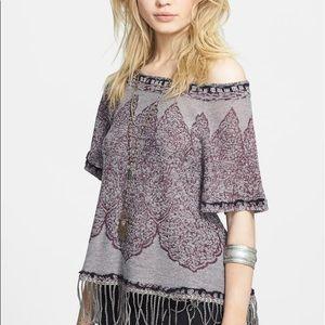 Free People Kilm Swing Top Fringe Wool Purple S